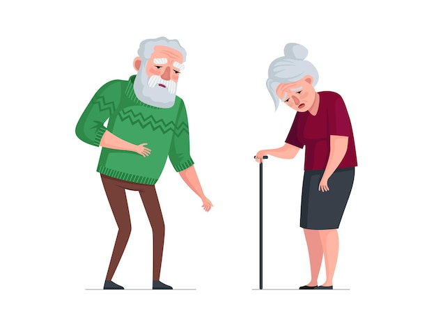 Unhealthy sick elderly couple stand sad tired senior aged pensioners weakness old people bearded man