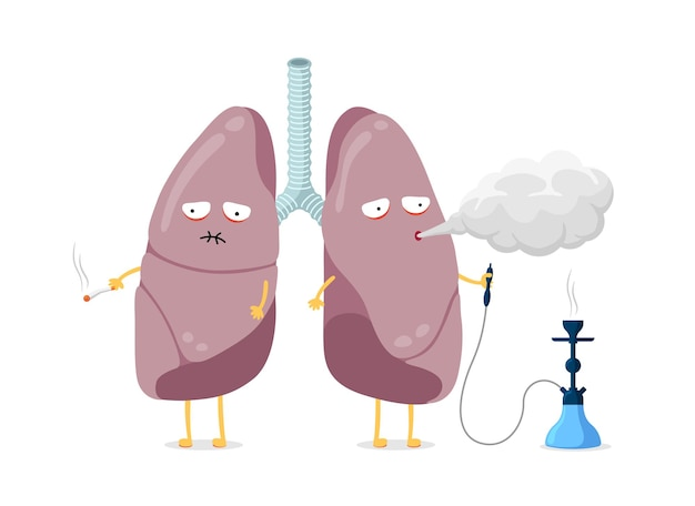 Unhealthy sick lungs cartoon character smoking cigarette and hookah human respiratory system