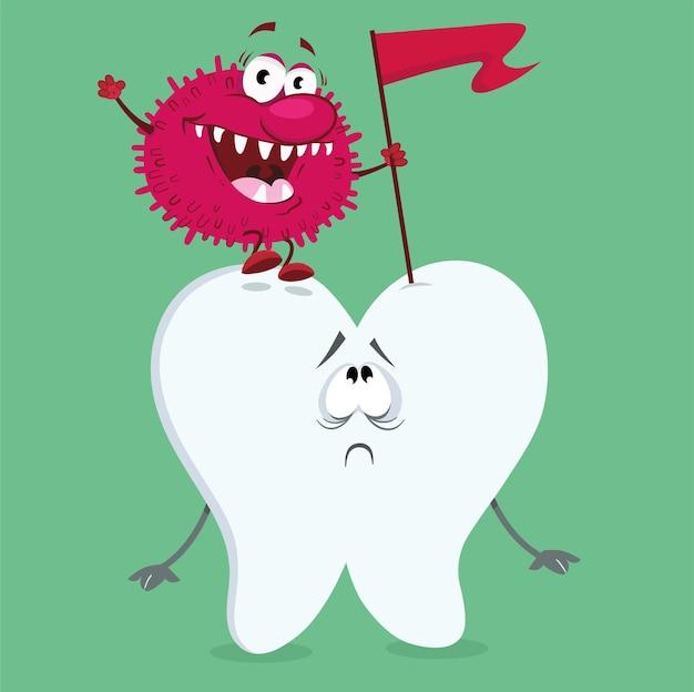 Нездоровый зуб мультипликационный персонаж векторные иллюстрации