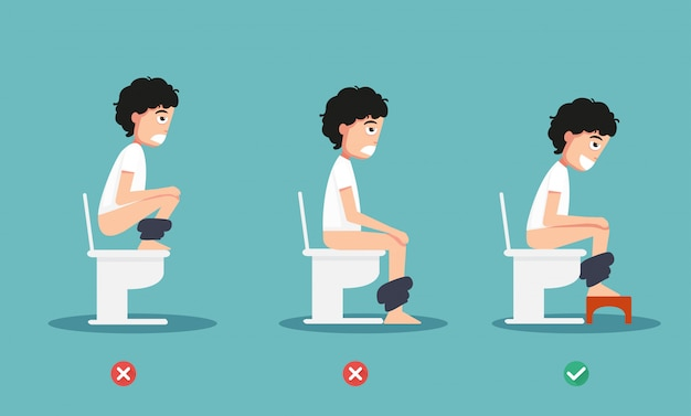 Unhealthy vs healthy positions for defecate illustration