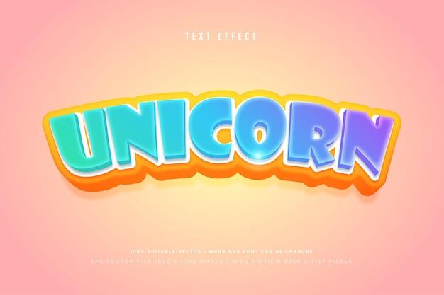 Unicorn 3d text effect on peach background