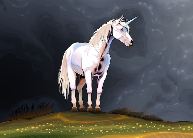 Unicorn alone in the nature