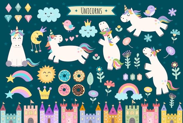 Единорог и сказочные изолированные элементы для вашего дизайна. замки, радуга, кристаллы, облака и цветы. симпатичная коллекция клипартов.