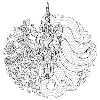 ユニコーンと花。大人の塗り絵の手描きスケッチイラスト。