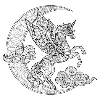 ユニコーンと月光。大人の塗り絵の手描きのスケッチ図