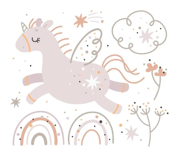 ユニコーンとレインボーのセット、自由奔放に生きるスタイル、かわいい保育園の要素、キッズプリント