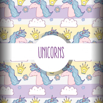 Unicorn animal with crown and flower background