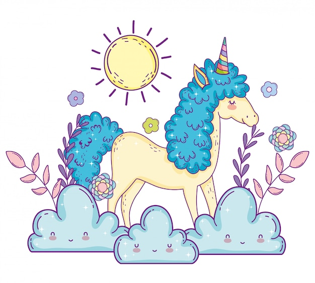 Unicorn animal with flowers plants and clouds