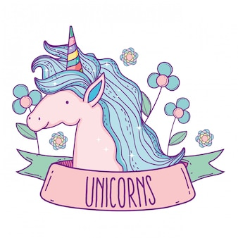Unicorn animal with hairstyle and flowers plants