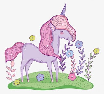 Unicorn animal with horn and flowers plants