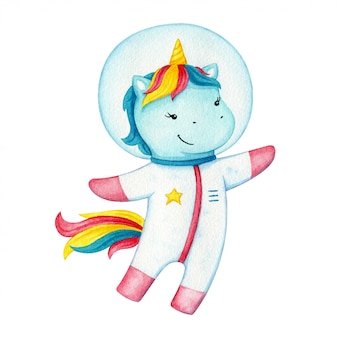 Unicorn astronaut character . happy flying pony wearing a space suit. fantasy horse on cosmic adventure.