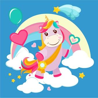 ユニコーンの背景。おとぎ話かわいい小さな馬が女の子のためのファンタジー虹の魔法の誕生日のベクトル画像に立っています。ユニコーン漫画の魔法、星と虹のポニーのイラスト