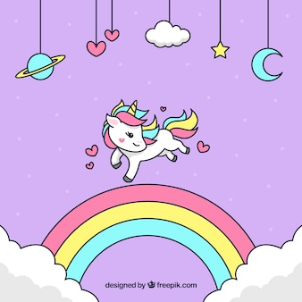 Unicorn background with hand drawn rainbow