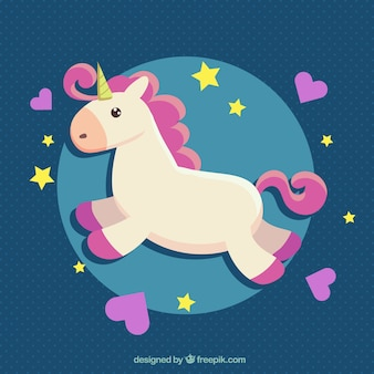 Unicorn background with hearts and stars