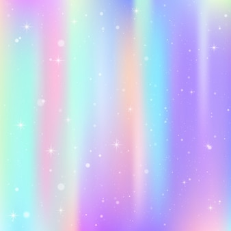 Unicorn background with rainbow mesh. colorful universe in princess colors. fantasy gradient with hologram.