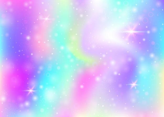무지개 메쉬와 유니콘 배경입니다. 공주 색상의 소녀 우주 배너입니다. 홀로그램으로 판타지 그라데이션 배경입니다. 마법의 반짝임, 별, 흐림 효과가 있는 홀로그램 유니콘 배경.