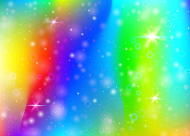 Unicorn background with rainbow mesh. girlish universe banner in princess colors. fantasy gradient backdrop with hologram. holographic unicorn background with magic sparkles, stars and blurs.