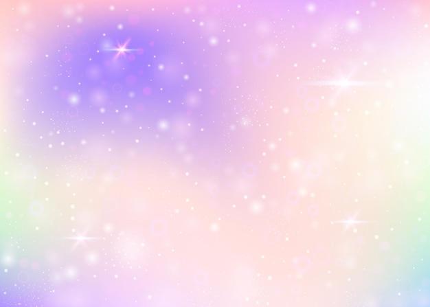 レインボーメッシュとユニコーンの背景。プリンセスカラーのカワイイユニバースバナー。ホログラム付きのファンタジーグラデーションの背景。魔法の輝き、星、ぼかしのあるホログラフィックユニコーンの背景。