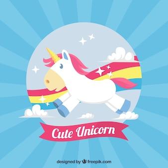 Sfondo unicorno con arcobaleno