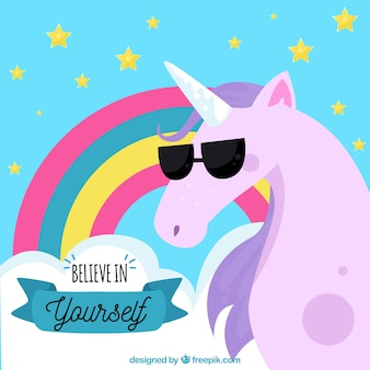 Do it yourself vectors photos and psd files free download unicorn background with sunglasses and message believe in yourself solutioingenieria Images