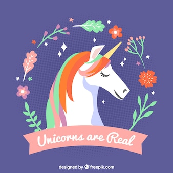 Unicorn background with vintage floral wreath