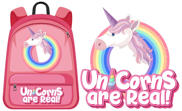 Unicorn backpack on white background