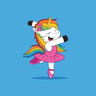 Unicorn ballet cartoon