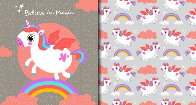 Unicorn believe in magic pattern