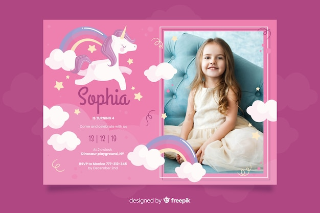 Unicorn birthday invitation template with photo
