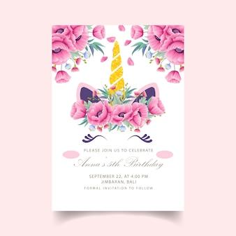 Unicorn birthday kids invitation