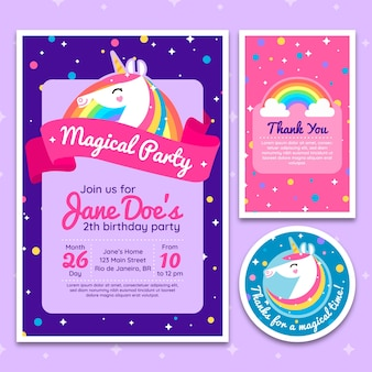 Unicorn birthday party invitation with stars