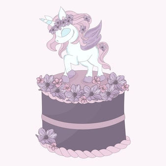 Unicorn cake birthday party cartoon