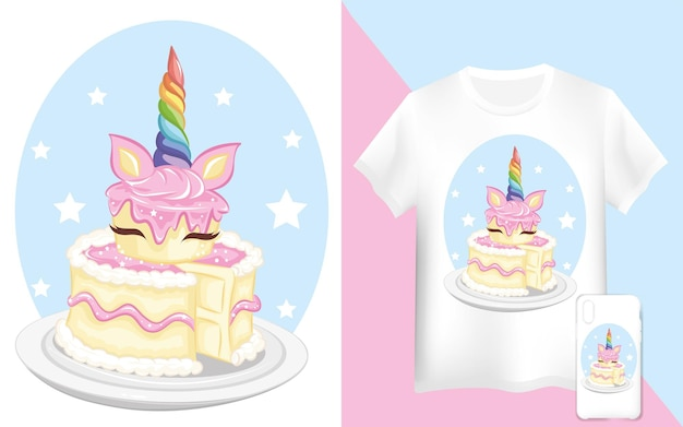 Unicorn cake card and  t-shirt design