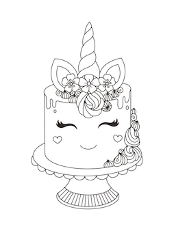 Unicorn cake printable coloring book for kids vector illustration with handdrawn doodle style