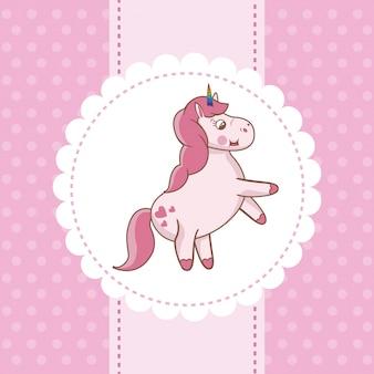 Unicorn card pink fairytale decoration