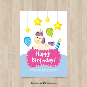 Unicorn card with stars