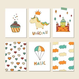 ハート、ケーキ、雲、城、虹、その他のシンボルが付いたユニコーンカード。子供部屋、保育園の装飾、インテリアデザインのベクトルステッカー。