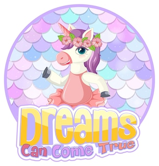 Unicorn cartoon character on pastel scales background isolated