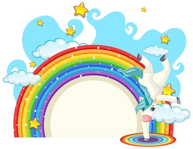 Unicorn cartoon character with rainbow isolated on white background