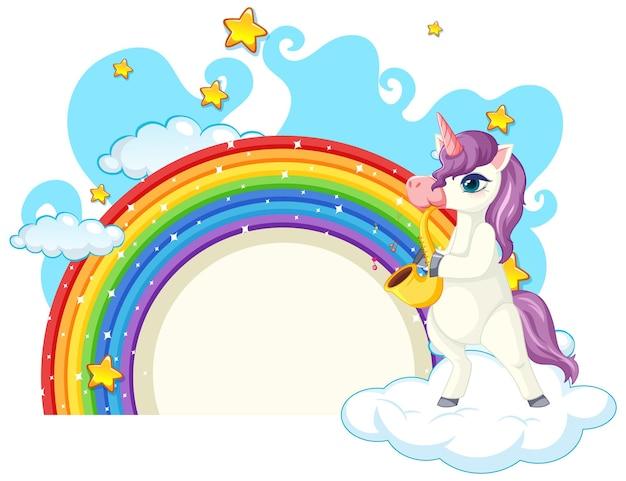 Personaggio dei cartoni animati di unicorno con arcobaleno isolato su bianco