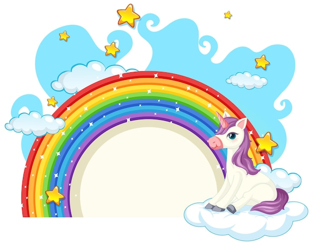Unicorn cartoon character with rainbow isolated on white