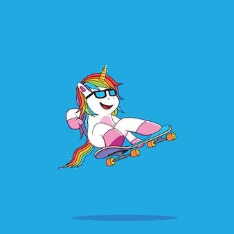 Unicorn cartoon play skate board