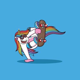 Unicorn cartoon play skateboard