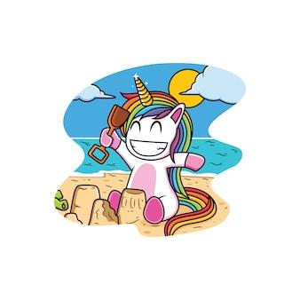 Unicorn cartoon playing on the beach