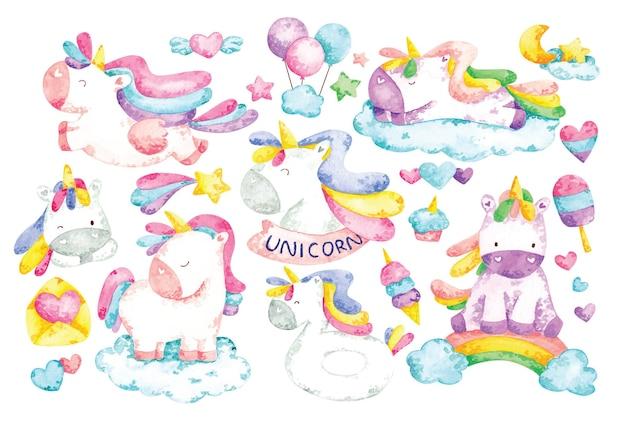 Unicorn cartoon set in water color illustration