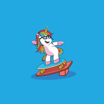 Unicorn cartoon do skating