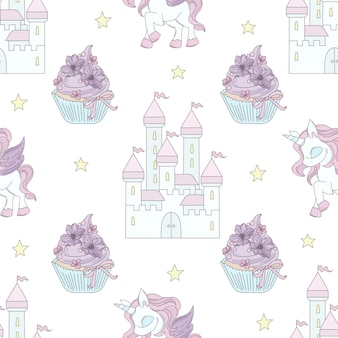 Unicorn castle fairy tale seamless pattern