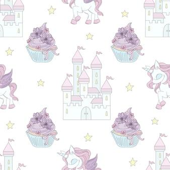 Unicorn castle fairy tale seamless pattern