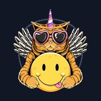 유니콘 고양이 천사 날개와 미소 이모티콘을 들고