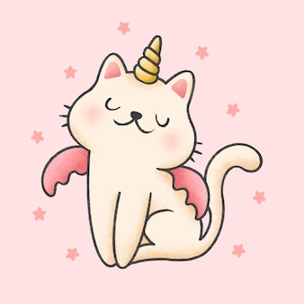 Unicorn cat cartoon hand drawn style